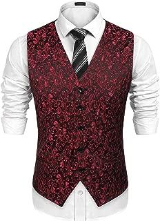 Mens Classic Paisley Floral Jacquard Waistcoat Wedding Tuxedo Suit Vest