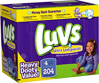Luvs Premium Stretch Diapers with Ultra Leakguards Diapers, Size 4, 204-Count