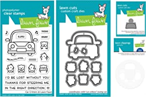 Lawn Fawn Car Critters 3x4 Clear Stamp Set, Coordinating Die, Reveal Wheel Add-on Die and Template (LF2338, LF2339, LF2340, LF2341)