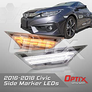 Optix Compatible with 2016-2017 Honda Civic Clear LED Front Side Marker Light - LED Turn Signal Housing Parking Light Replacement Lamp