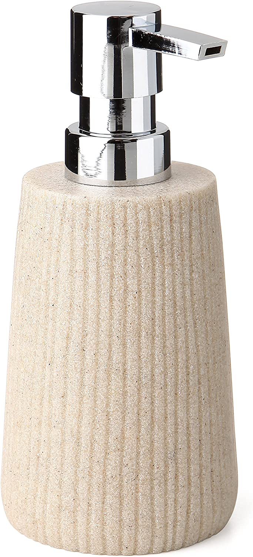 TATAY 6360200 - Colección Saigon, Dosificador de jabón líquido de poliresina beige, 7.7 x 7.7 x 16.6 cm