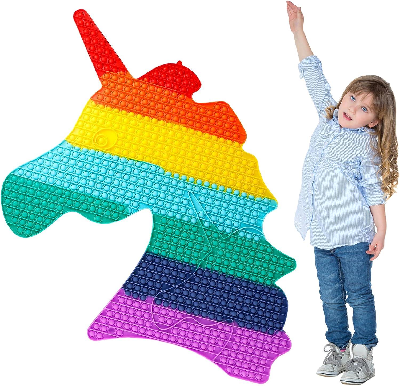 Free Shipping Cheap Bargain Gift Big Unicorn Popit Fidget Toys New arrival Jumbo Giant It Rainbow Bubble Pop