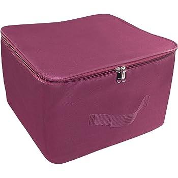 Storite Nylon Wardrobe Bag Underbed Moisture Proof Cloth Storage Organiser with Zippered Closure & Handle (Magenta, 38x35.5x25.4 cm)