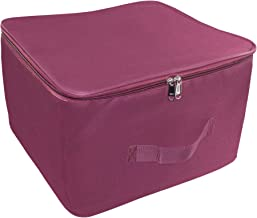 Storite Nylon Wardrobe Bag Underbed Moisture Proof Cloth Storage Organiser with Zippered Closure & Handle (Magenta, 38x35.5x25.4 cm)