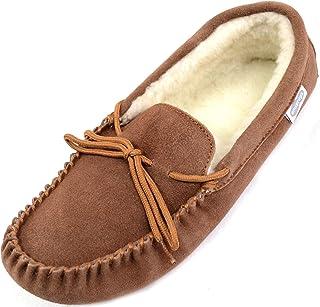 Men's Sheepskin Moccasin/Slippers Softsole in Light Brown.