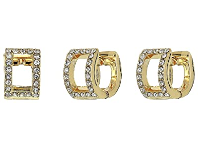 Vince Camuto Rectangle Huggie Earrings (Gold/Crystal) Earring
