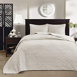 V1 Bedspread Comforter Set 3Pcs Quilted Bedding Set Single Double//King Superking Pom Beige, Double