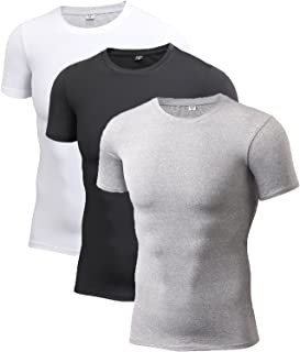 DZRZVD Men's Short Sleeve T-Shirts Baselayer Cool Dry Compression Athletic YEL4001