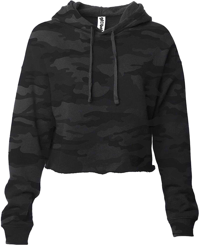 Global Blank Women's Crop Top Sweatshirt Fleece Pullover Cropped Hoodie Sweater