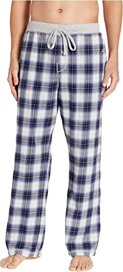 Shadow Plaid Flannel Pajama Pants with Heather Knit Trim