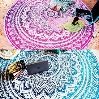 Set of 2 Round Beach Blanket or Boho Mandala Tapestry or Bohemian Decoration or Hippie Beach Blanket, Circle Tablecloth or Picnic Blanket, Indian Meditation Rug Mat for Yoga - 72 Inches, Blue and Pink