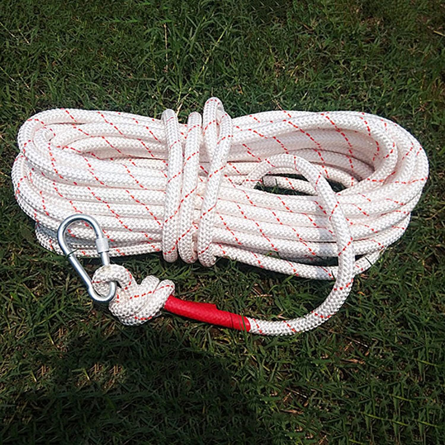 Rock Climbing Rope HighRise Escape Rope Emergency Wire Core Climbing Rope Outdoor Supplies,White+Red50m16mm