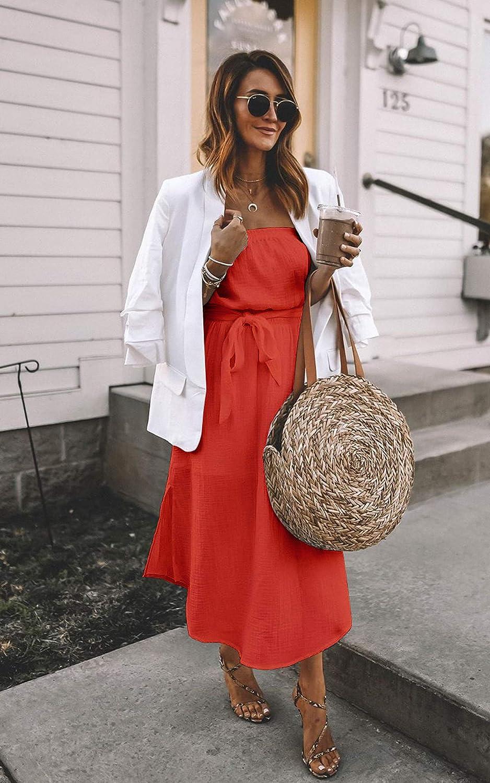 CinShein Womens Casual Off Shoulder Wrap Maxi Dress Summer Strapless Ruffle Party Beach Long Maxi Dresses with Belt