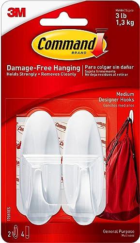Command Medium Designer Hooks, White, 2-Hooks, Organize & Decorate Damage-Free