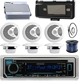 Kenwood KMRD372BT Marine Boat Audio Bluetooth CD Player Receiver W/Protective Cover - Bundle Combo with 6X White 6-1/2'' 150W Waterproof Stereo Speakers + Enrock Antenna + 400W Amplifier + 50-FT Wire