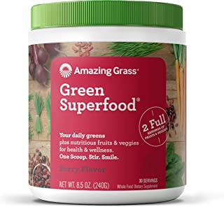 Amazing Grass Green Superfood: Super Greens Powder with Spirulina, Chlorella, Digestive Enzymes & Probiotics, Berry, 30 Se...