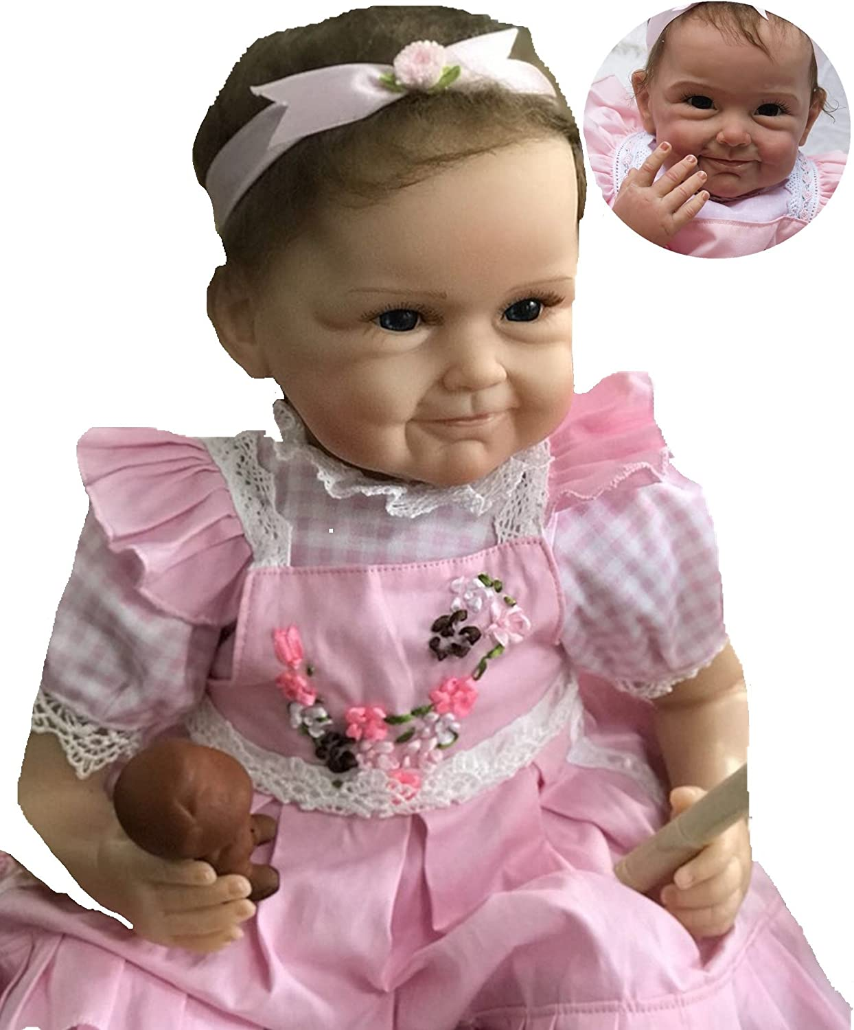 Lifelike Reborn Baby Dolls Girl 22 inches Real Looking Soft Vinyl Silicone Weighted Body Handmade Eyes Open Pink Dress