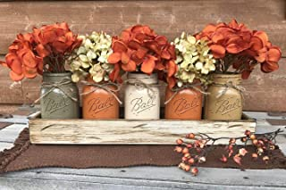 FALL Mason Canning JARS in Wood ANTIQUE WHITE Tray Thanksgiving Centerpiece with 5 Ball Pint Jar -Kitchen Table Decor -Distressed -Flowers (Optional)- Orange Tan Brown Green Yellow Painted Jars