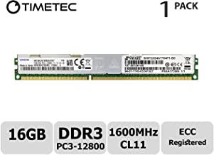 Timetec 16GB DDR3L 1600MHz PC3-12800 Registered ECC 1.35V CL11 2Rx4 Dual Rank 240 Pin RDIMM Server Memory RAM Module Upgrade (16GB)