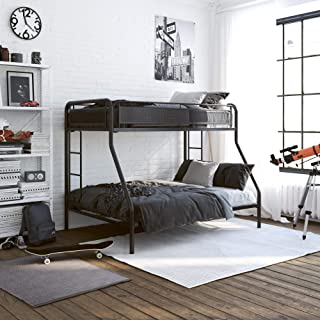 DHP Rockstar Metal Bunk Bed Frame, Sturdy Metal Design, Twin-Over-Full - Black