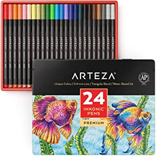 ARTEZA Inkonic Fineliners Fine Point Pens, Set of 24 Fine Tip Markers with Color Numbers, 0.4mm Tips, Ergonomic Barrels, B...