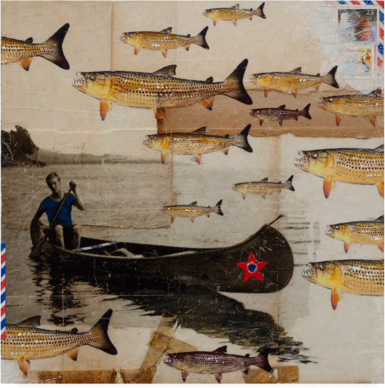 Trademark Fine Art Canoeing in Troubled Waters
