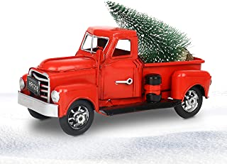 """WMLBK 6.7"""" Christmas Crafts Vintage Red Truck, Vintage Red Metal Truck Car Model Farmhouse Metal Pickup Truck Decor with C..."""