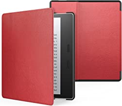 MoKo Case Fits All-New Kindle Oasis (9th and 10th Generation ONLY, 2017 and 2019 Release), Premium Ultra Lightweight Shell Cover with Auto Wake/Sleep - RED