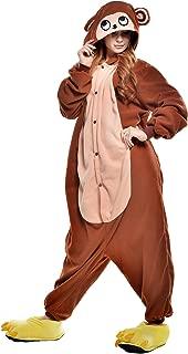 NEWCOSPLAY Unisex Adult Brown Monkey One- Piece Cosplay Animal Pajamas Halloween Costume
