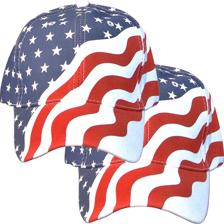 2 Pack American Flag Ball Cap Hat Us USA Patriotic Stars and Stripes Baseball Cap