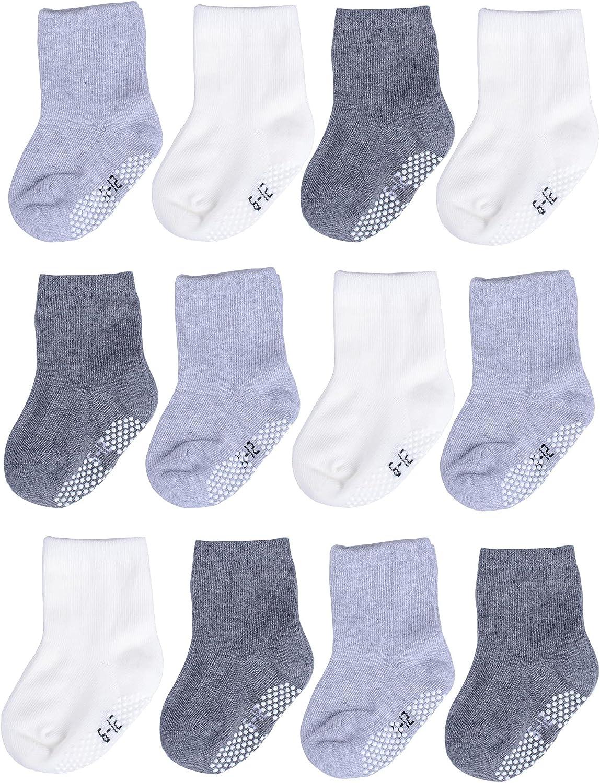 T.H.L.S Unisex Baby Socks Seamless Non Slip Grip Anti Skid Cotton Crew Socks for Girls Boys Toddler Kids