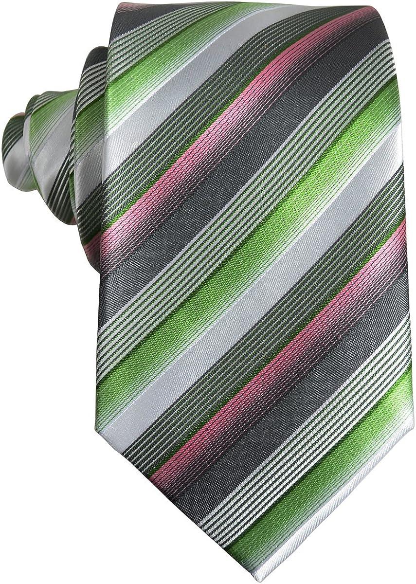 Green Striped Paul Malone Silk Tie and Pocket Square