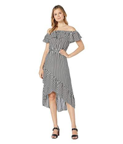 Tommy Bahama Palm Party Over the Shoulder Midi Dress (Black/White) Women