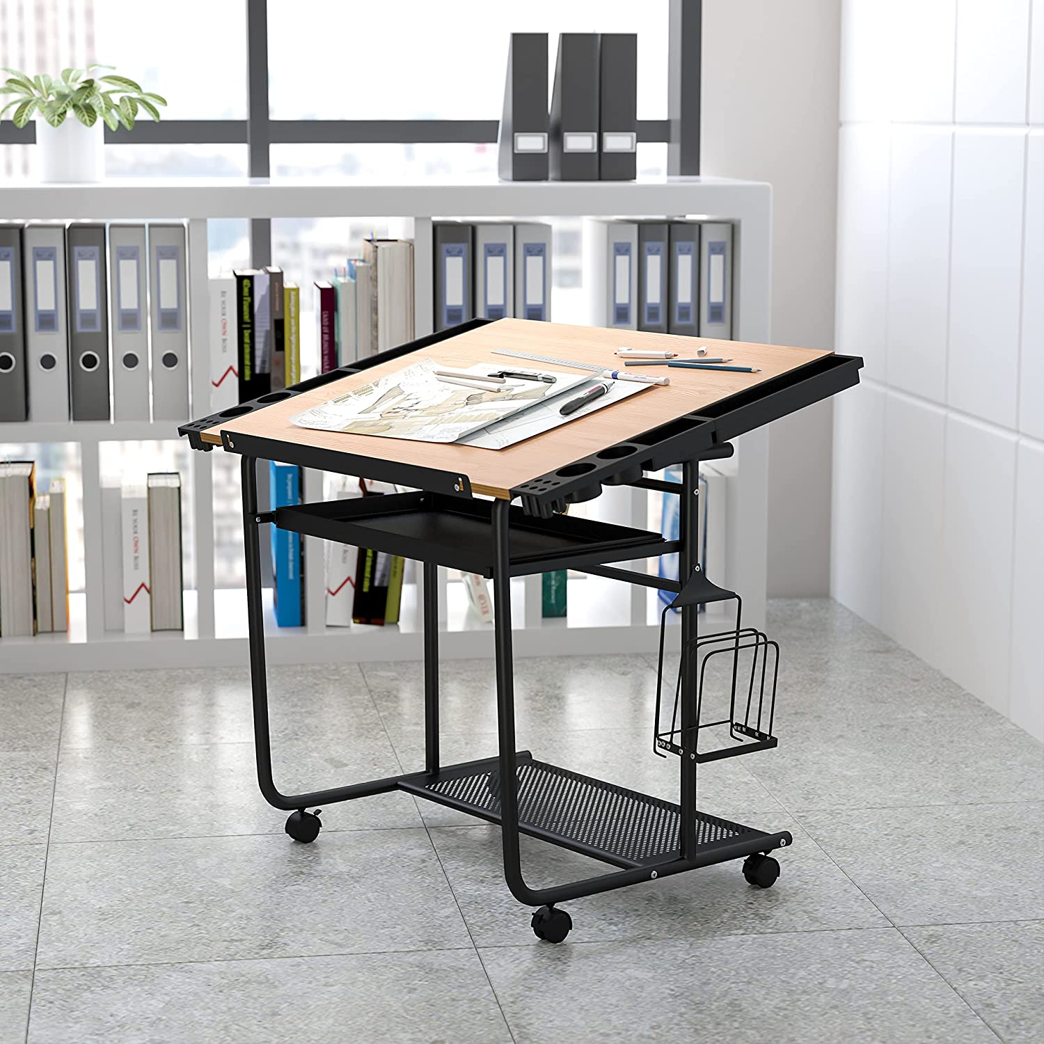 Flash Furniture Adjustable Drawing and Drafting Super popular specialty store Table Black Cheap bargain with