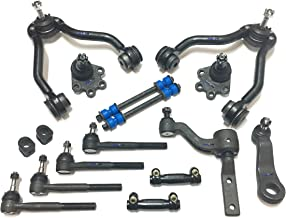PartsW 16 Pc Complete Suspension Kit for Chevrolet GMC Adjusting Sleeves, Tie Rod Ends, Lower Ball Joints (Bolt On Types), Idler & Pitman Arms, Sway Bar End Links, Upper Control Arms