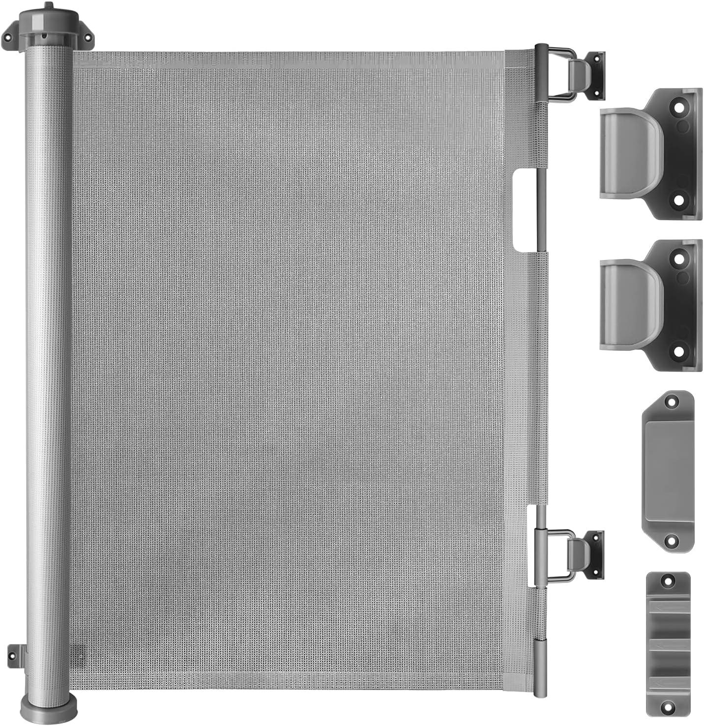 0-180cm Barrera Seguridad Retráctil Puertas, Satisure Barrera de Seguridad niños, Uso Más Suave y Silencioso, para Escaleras y Pasillos, Interiores y Exteriores