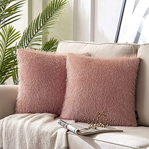 high quality Phantoscope Pack of 2 Luxurious Shiny Tassel Fringed Velvet Decorative Throw Pillow outlet sale Covers Pillowcases Cushion Cover for Couch Bed and Chair, Pink, 18 x 18 inches, 45 wholesale x 45 cm outlet online sale