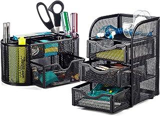 Halter - Organizador de escritorio de malla de acero, 2 piezas, organizador ovalado de escritorio y organizador con 3 mini cajones, color negro