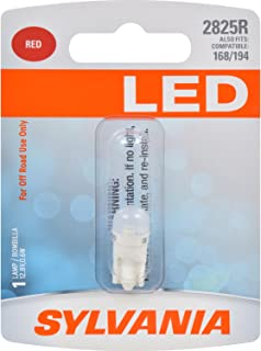 SYLVANIA - 2825 T10 W5W LED Red Mini Bulb - Bright LED Bulb, Ideal for Interior Lighting (Contains 1 Bulb)