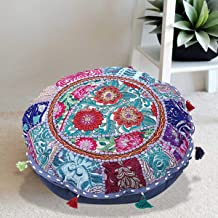 Stylo Culture Indian Yoga Throw Pillows for Bedroom Vintage Patchwork Cushion Cover Grey 18x18 Decorative Round Decor Seat...