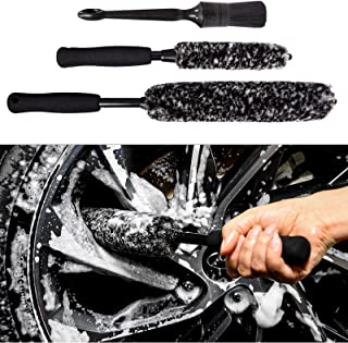 bzczh Car Wheel Brush Soft Wheel Brush Set Tire Brushes for Cleaning Wheels Synthetic Wool Tire Rim Brush 3 Pieces
