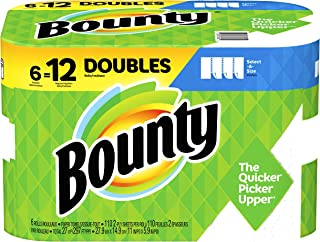 Bounty 74728 Select-a-Size Paper Towels, 2-Ply, White, 5.9 x 11, 83 Sheets/Roll, 8 Rolls/CT