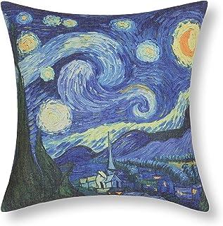 CalTime غطاء وسادة أريكة أريكة ديكور المنزل صورة مشهورة طباعة 18 × 18 بوصة لوحة فان جوخ ليلة النجوم