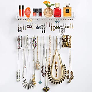 Pretty Display 'Invisible' Acrylic Jewelry Organizer, Wall Mounted, Luxury 3 Piece Set Clear Hanging Jewelry Holder for Necklaces, Watches & Accessories with Removable Earring Organizer