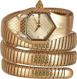 ساعة جاست كافالي ستانلس ستيل بتصميم على شكل ثعبان، كوارتز انالوج للنساء بسوار ستانلس ستيل، JC1L168M0035
