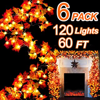 TURNMEON 6 Pack Thanksgiving Decor Maple Leaves Garland LED String Lights - 120 LED Lamps + 120 Autumn Maple Leaves 60 Ft String Lights Indoor Outdoor Use Lighted Christmas Holiday Decoration Ornament