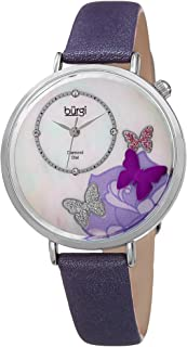 Burgi Skinny Brown Leather Women's Watch with Crystal Butterflies, Genuine Diamond Markers and Flower Designs on Mother of Pearl Dial – Classic Round Analog Quartz – BUR158