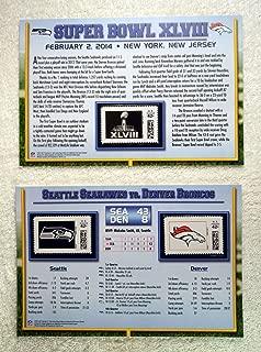 Super Bowl XLVIII (2014) - Official NFL Super Bowl Stamp Collection - 2 Pieces / 3 Stamps - Seattle Seahawks vs Denver Broncos - Malcolm Smith MVP