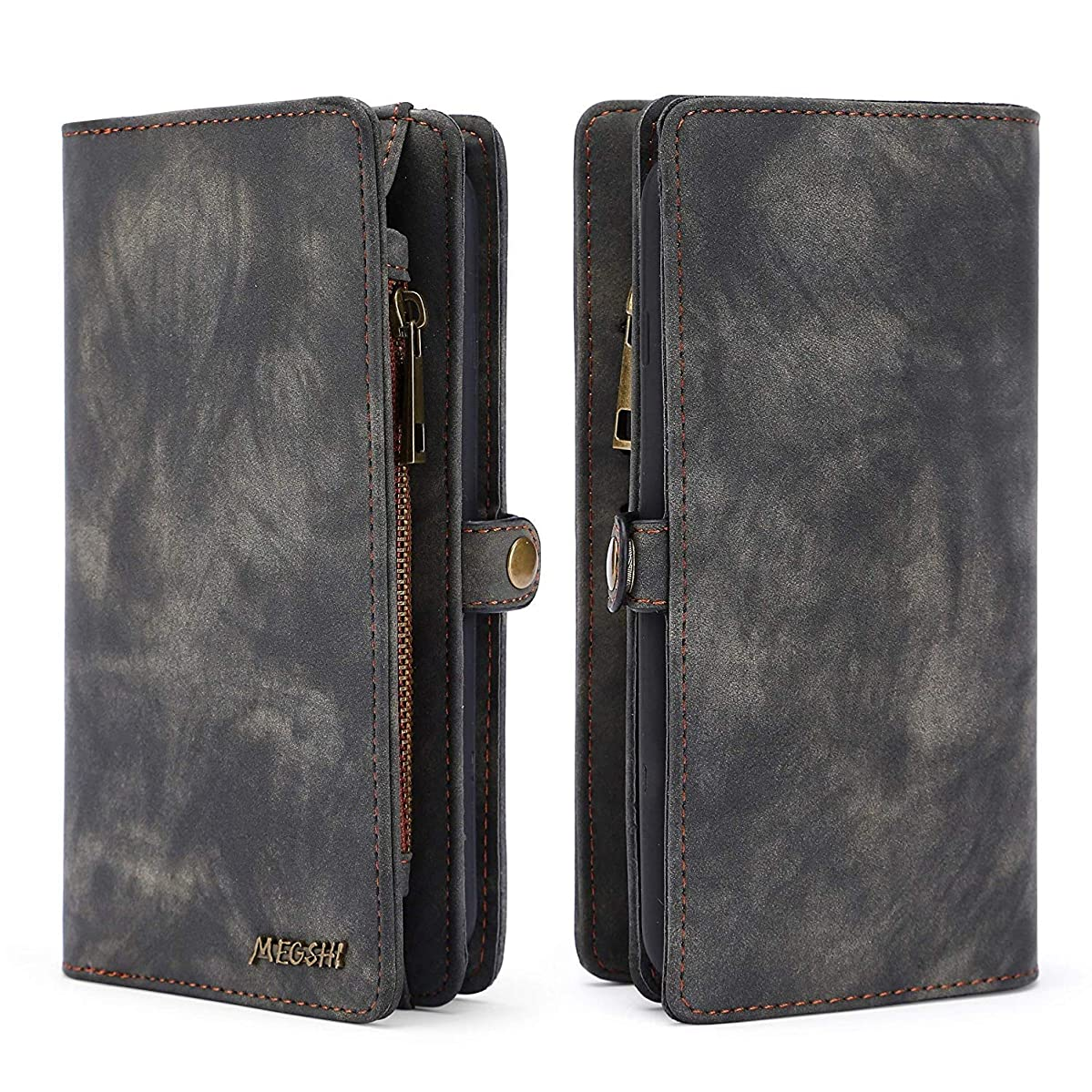 Spritech LG Stylo 4 Wallet Case,LG Q Stylus Case,LG Stylo 4 Plus,Handmade Leather Large Capacity Detachable Zipper Wallet Cover