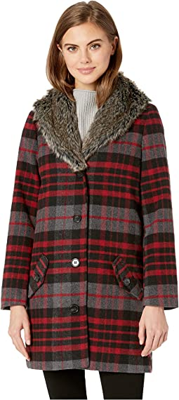 Plaid Romance Brush Plaid Coat with Fur Collar